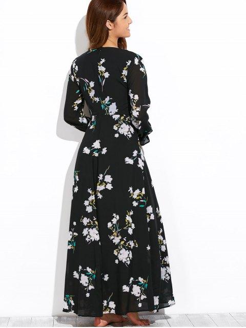 womens Flowy Printed Long Sleeve Maxi Dress - BLACK L Mobile