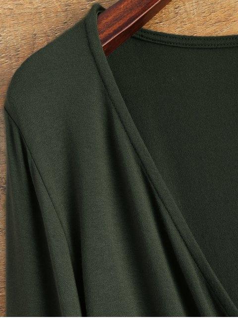 chic Plunging Neckline Bodysuit - BLACKISH GREEN L Mobile