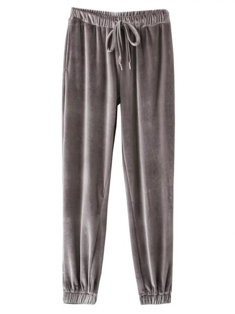 buy Velour Drawstring Sweatpants - GRAY L Mobile