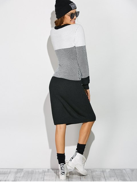 fancy Contrast Trim Sweater Dress - WHITE AND BLACK ONE SIZE Mobile