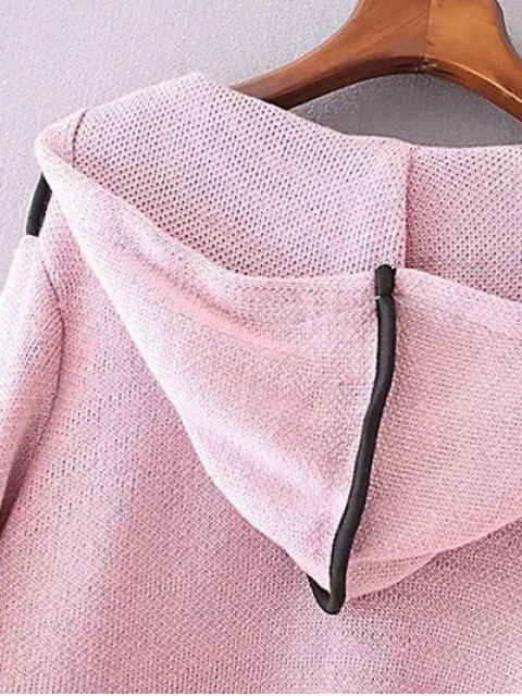 women's Zippered Hooded Cardigan - PINK ONE SIZE Mobile