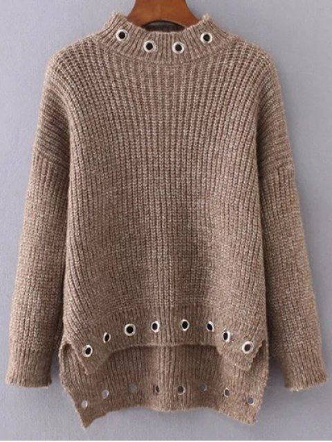 new High Low Ring Embellished Ribbed Sweater - DARK KHAKI ONE SIZE Mobile
