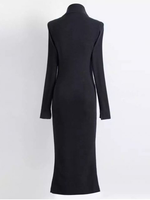 latest Zippered Knitted Bodycon Dress - BLACK S Mobile