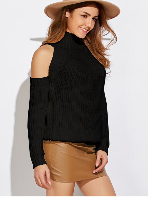 outfit Cold Shoulder Funnel Neck Pullover Sweater - BLACK ONE SIZE Mobile