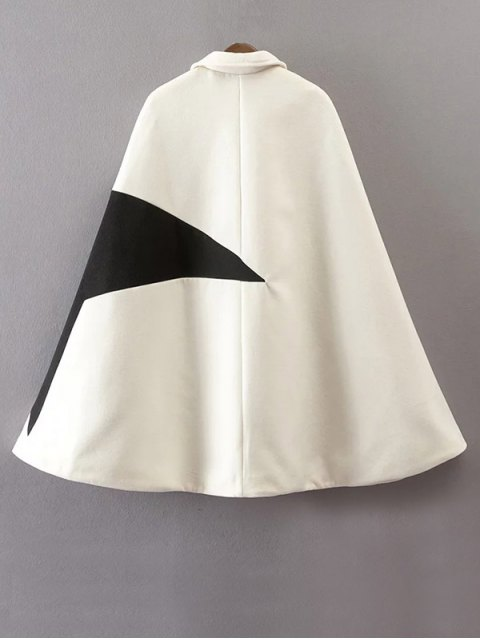 sale Cashmere Pentagram Print Cape Coat - WHITE L Mobile