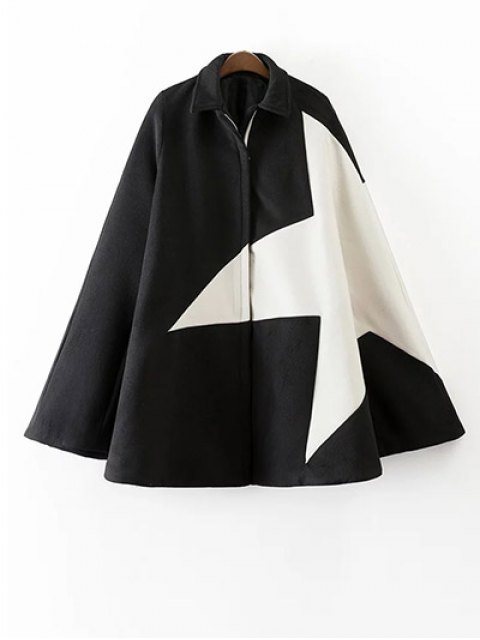 women's Cashmere Pentagram Print Cape Coat - BLACK S Mobile