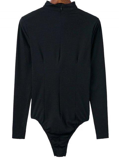 fashion Cut Out Long Sleeve Choker Bodysuit - BLACK M Mobile