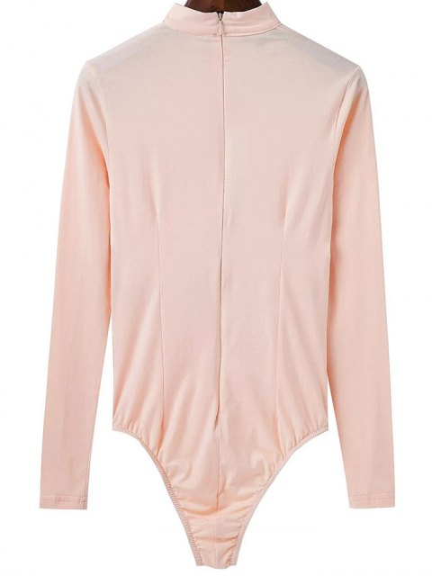 latest Cut Out Long Sleeve Choker Bodysuit - APRICOT S Mobile