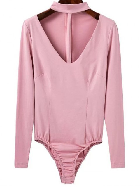 sale Cut Out Long Sleeve Choker Bodysuit - PINK S Mobile