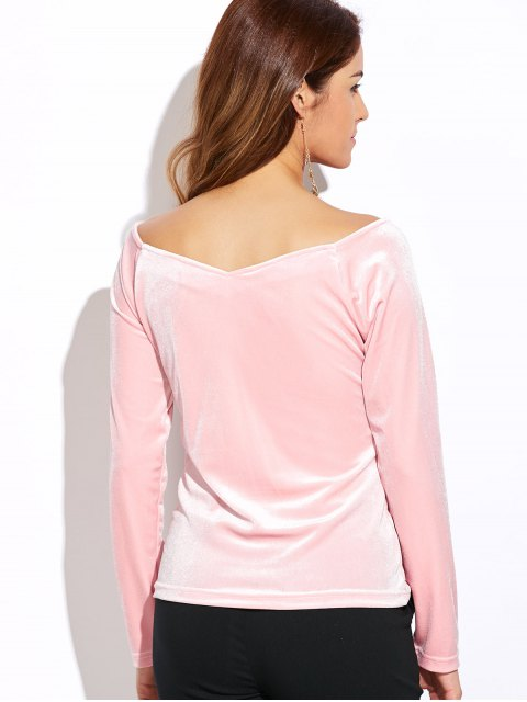 women's V Neck Slimming Top - PINK L Mobile