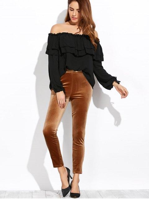 affordable Flounce Off The Shoulder Blouse - BLACK XL Mobile