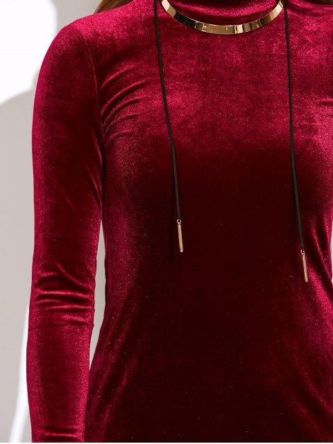 fancy Mock Neck Velvet Mini Bodycon Dress - WINE RED ONE SIZE Mobile