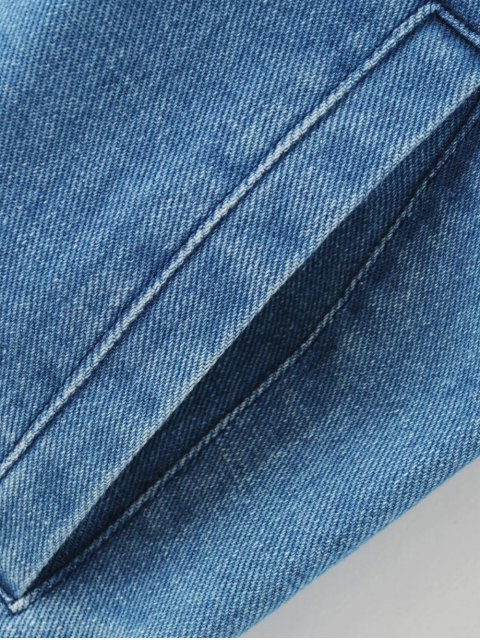 hot Floral Embroidered Denim Bomber Jacket - DENIM BLUE S Mobile