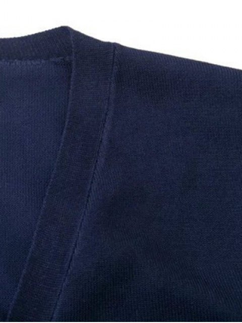 buy V Neck Striped Sleeve Cardigan - CADETBLUE M Mobile