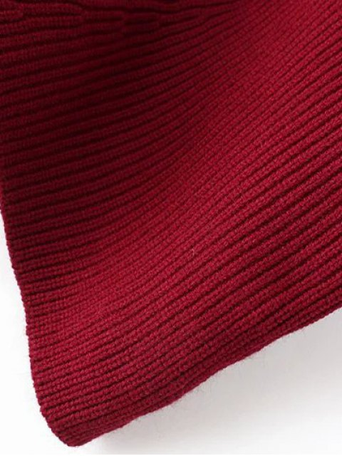 new Hanky Hem Turtleneck Batwing Sweater - BURGUNDY ONE SIZE Mobile