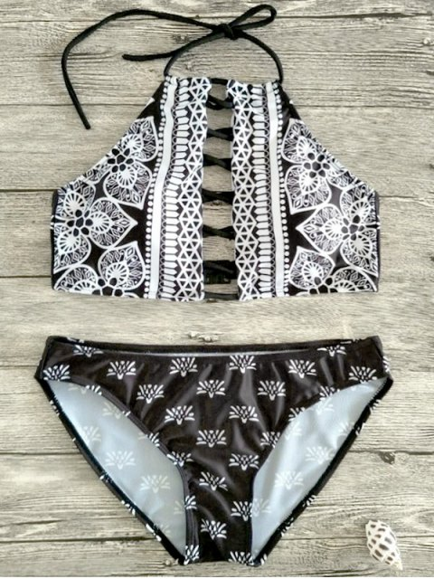 women's Patterned Halter Lace Up Bikini - WHITE AND BLACK S Mobile