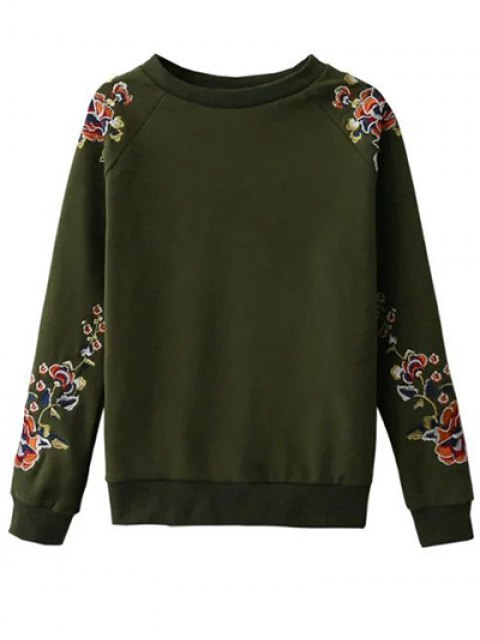 sale Floral Embroidered Raglan Sweatshirt - GREEN M Mobile