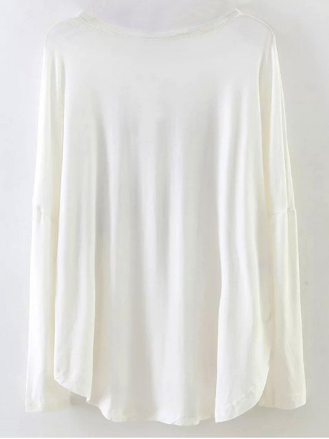 buy Long Sleeve Patched Tee - WHITE M Mobile