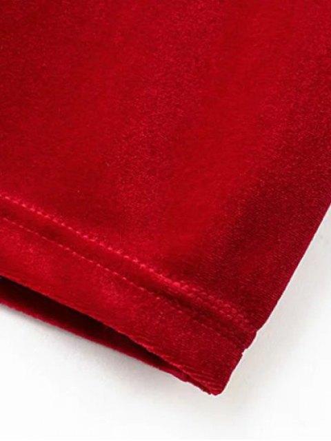 outfit Mock Neck Long Sleeves Velvet Dress - RED M Mobile