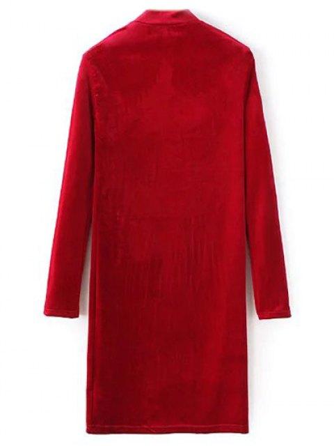 hot Mock Neck Long Sleeves Velvet Dress - RED L Mobile