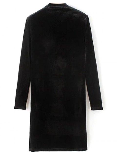 shop Mock Neck Long Sleeves Velvet Dress - BLACK L Mobile