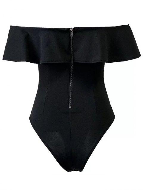 women's Ruffles Off The Shoulder Bodysuit - BLACK M Mobile