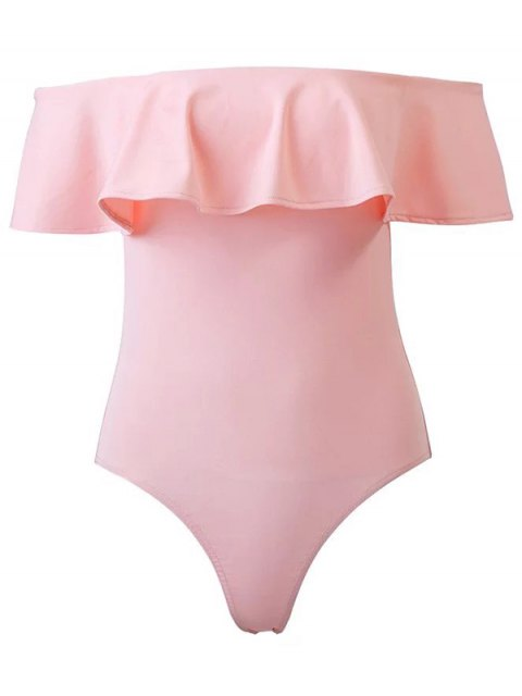 shop Ruffles Off The Shoulder Bodysuit - PINK M Mobile