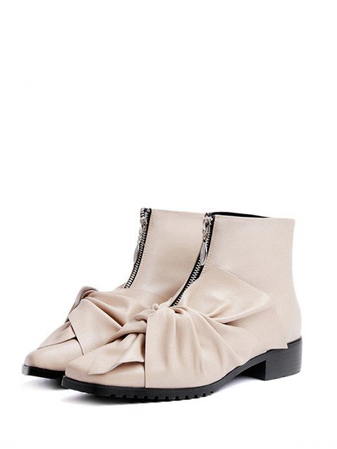 trendy Bow Pointed Toe Zipper Ankle Boots - APRICOT 38 Mobile