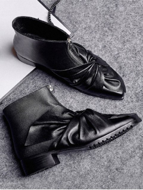 fancy Bow Pointed Toe Zipper Ankle Boots - BLACK 38 Mobile