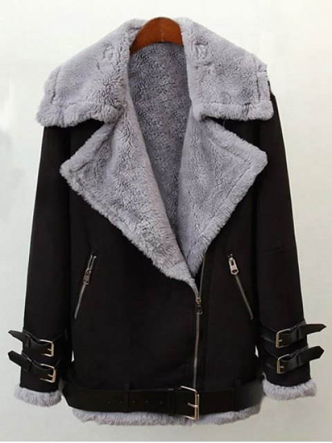 trendy Zippers Buckles Faux Shearling Jacket - BLACK L Mobile