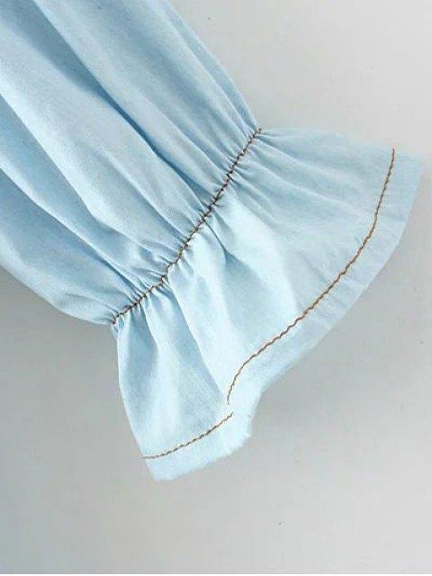 trendy Denim Off The Shoulder Blouse - LIGHT BLUE M Mobile