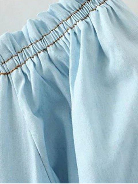 latest Denim Off The Shoulder Blouse - LIGHT BLUE L Mobile