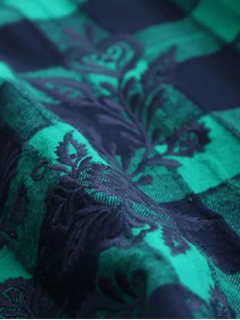 affordable Bell Sleeve Embroidered Checked Blouse - BLUE AND GREEN L Mobile