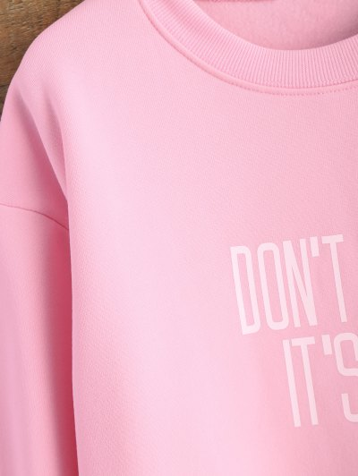 Letter Pattern Jewel Neck Sweatshirt - PINK M Mobile