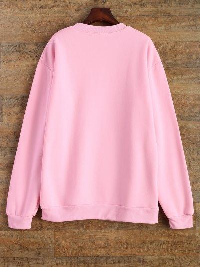 Letter Pattern Jewel Neck Sweatshirt - PINK S Mobile