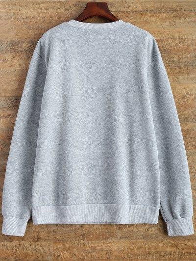 Letter Pattern Jewel Neck Sweatshirt - GRAY XL Mobile