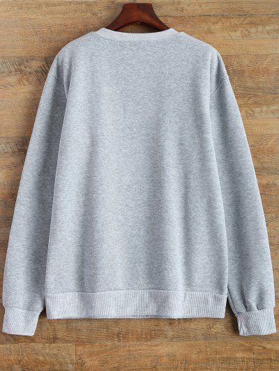 Letter Pattern Jewel Neck Sweatshirt - GRAY L Mobile