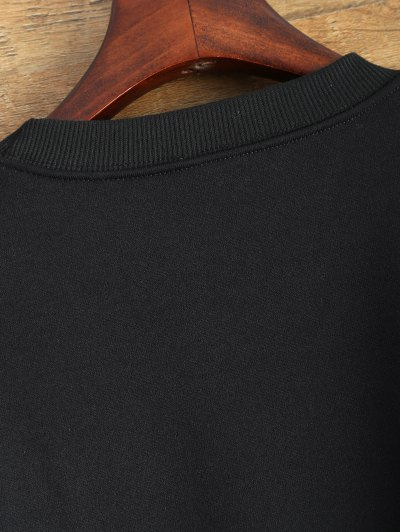 Letter Pattern Jewel Neck Sweatshirt - BLACK L Mobile