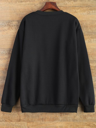 Letter Pattern Jewel Neck Sweatshirt - BLACK M Mobile