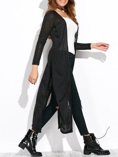 Open Stitch Side Slit Duster Cardigan - BLACK XL Mobile
