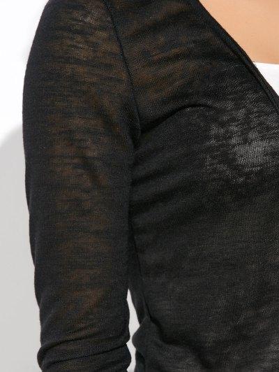Open Stitch Side Slit Duster Cardigan - BLACK S Mobile