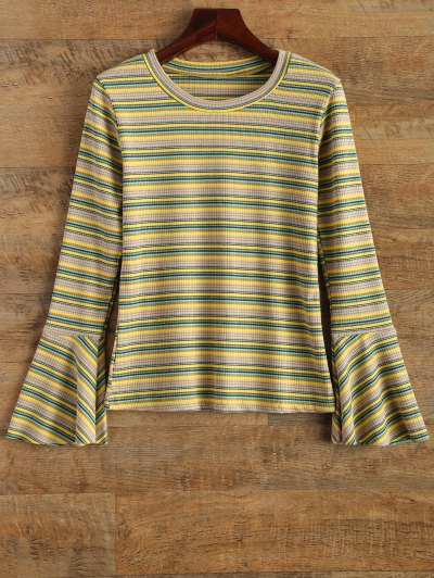 Stripe Design Flare Sleeve Knitwear - YELLOW ONE SIZE Mobile