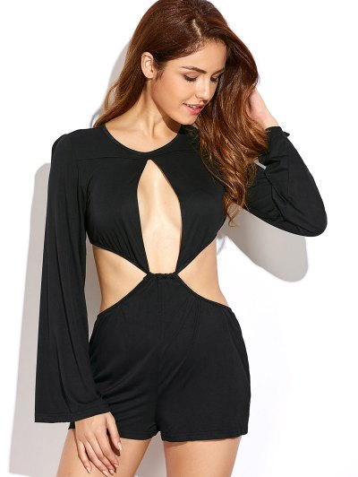 Flare Sleeve Cut Out Romper - BLACK L Mobile