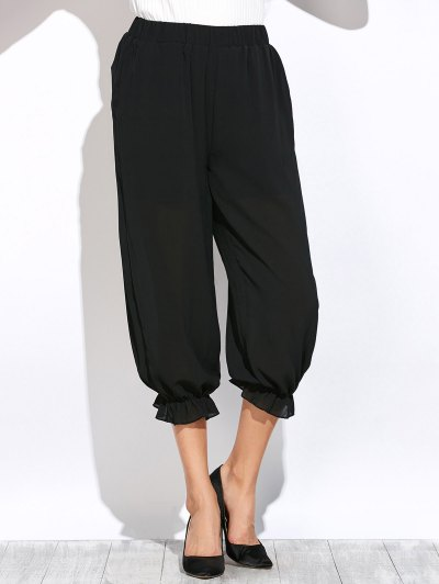 See Through Lantern Pants - BLACK 2XL Mobile