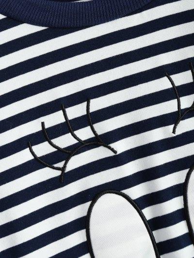 Cartoon Striped Tee - WHITE AND BLACK 2XL Mobile