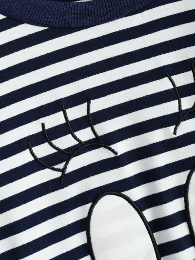 Cartoon Striped Tee - WHITE AND BLACK L Mobile