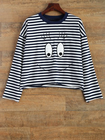 Cartoon Striped Tee - WHITE AND BLACK M Mobile