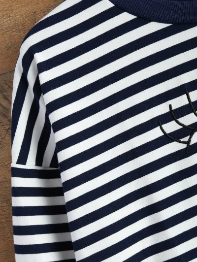 Cartoon Striped Tee - WHITE AND BLACK S Mobile