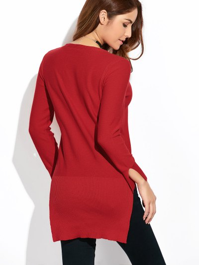 Long Loose High-Low Sweater - WINE RED XL Mobile