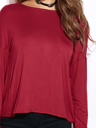 Twisted Open Back Long Sleeve T-Shirt - RED 2XL Mobile